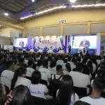 Superintendente del Sistema Financiero, Ing Ricardo Perdomo habla ante asistentes a inauguración de II Feria de Educación e Innovación Financiera