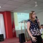 """Licda. Sonia Larrazábal brinda ponencia sobre """"Educación e Inclusión Financiera"""" a estudiantes de UES San Miguel, miércoles 7 de noviembre de 2018."""