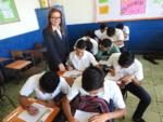 """57 alumnos de las secciones matutinas """"A"""" y """"B"""" de Noveno Grado, del Centro Escolar Tomás Medina, recibieron el taller financiero sobre """"Cómo elaborar un presupuesto, diferencias entre ahorro e inversión"""", impartido de la siguiente manera: Sección """"A"""" compuesta de 29 estudiantes, fue atendida por las licenciadas Dinora Aldana y Karla Contreras, representantes del Banco Cuscatlán.  Mientras que la sección """"B"""" compuesta por 28 alumnos fue atendida por los pasantes de la SSF, Saraí Rodríguez e Ítalo Ferrufino. Martes 5 de marzo de 2019."""